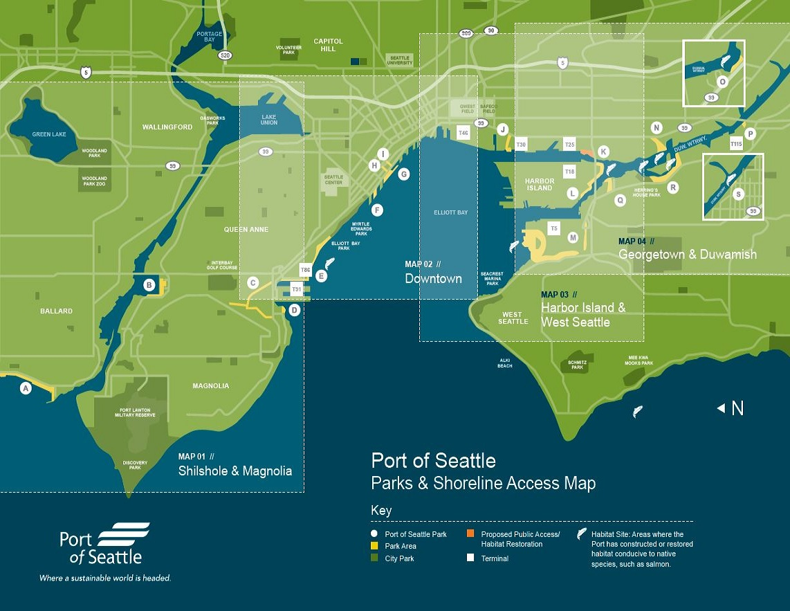 Georgetown Seattle Map.Parks Shoreline Access Map Port Of Seattle