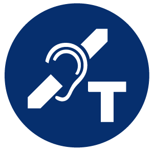 Hearing loop logo: an ear crossed by a diagonal bar with a 'T' in lower right