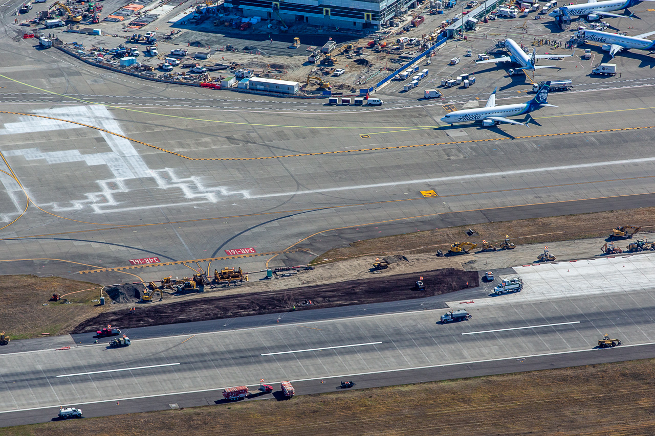 An Aerial View of Sea-Tac Airport's Runway Construction