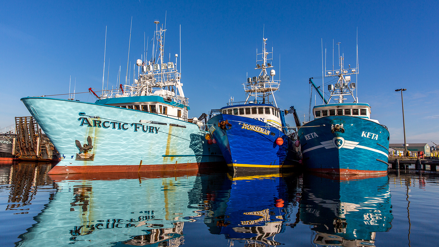 Fishing vessels at Fishermen's Terminal, Port of Seattle, WA. March, 1 2015