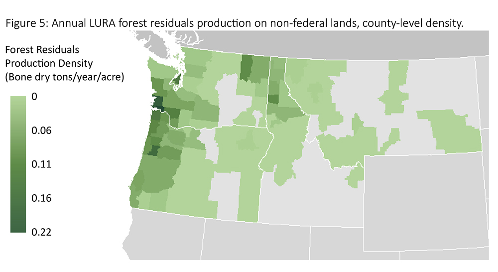 Geographic Density of Forest Residuals Map
