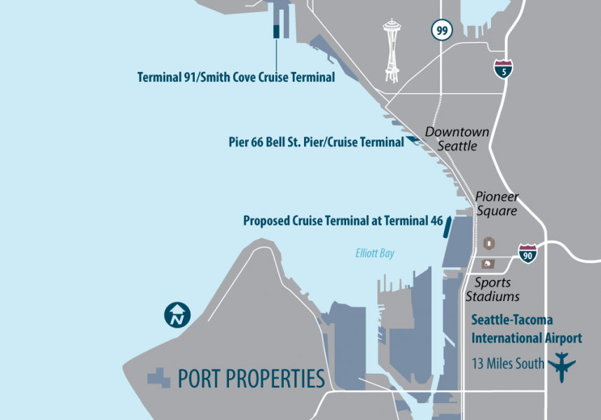 New Cruise Terminal | Port of Seattle on seatac map, seattle football stadium map, seattle attractions map, seattle time zone map, seattle landfill map, port of seattle map, seattle central map, seattle police map, seattle bar map, seattle area map, seattle airports lights rails, seattle runway map, seattle airspace map, downtown seattle map, seattle skytrain map, seattle cruise terminal map, seattle transportation system map, seattle aviation map, sea terminal map, seattle light rail map,