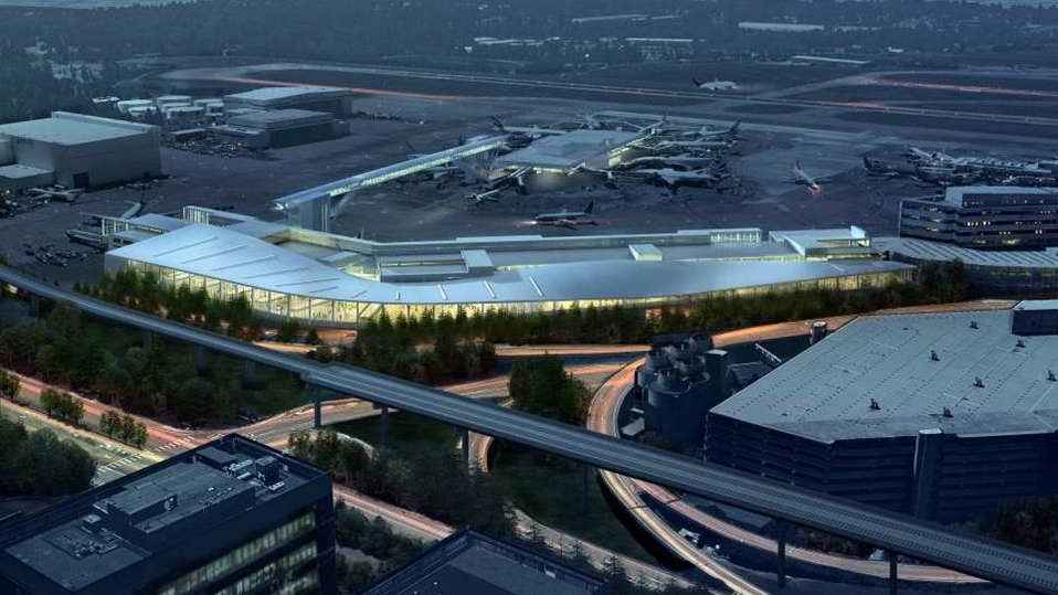 Artist rendering of the exterior of the new International Arrivals Facility, Sea-Tac Airport