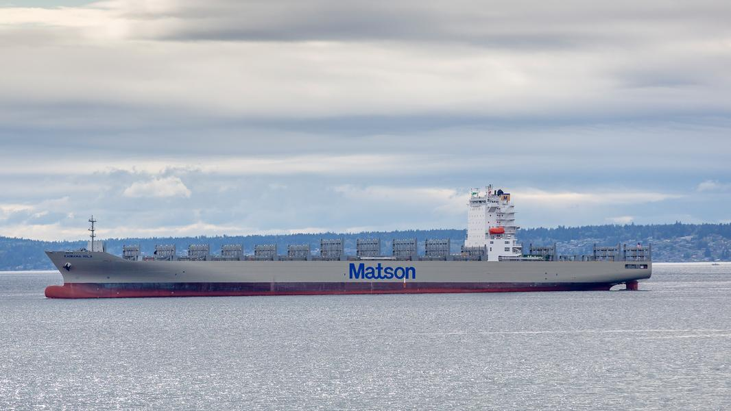 Matson Kaimana Hila as it departs Elliott Bay, Seattle, WA May 2019