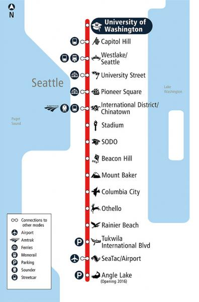 Light Rail Seattle Map Stops.Public Transit Link Light Rail Port Of Seattle