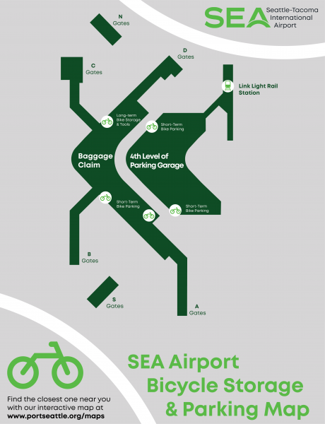 SEA Airport bike storage and parking map
