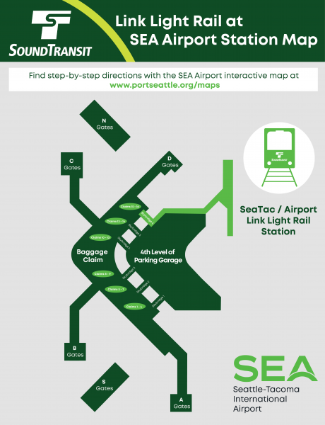 SEA Airport Link Light Rail Station Map