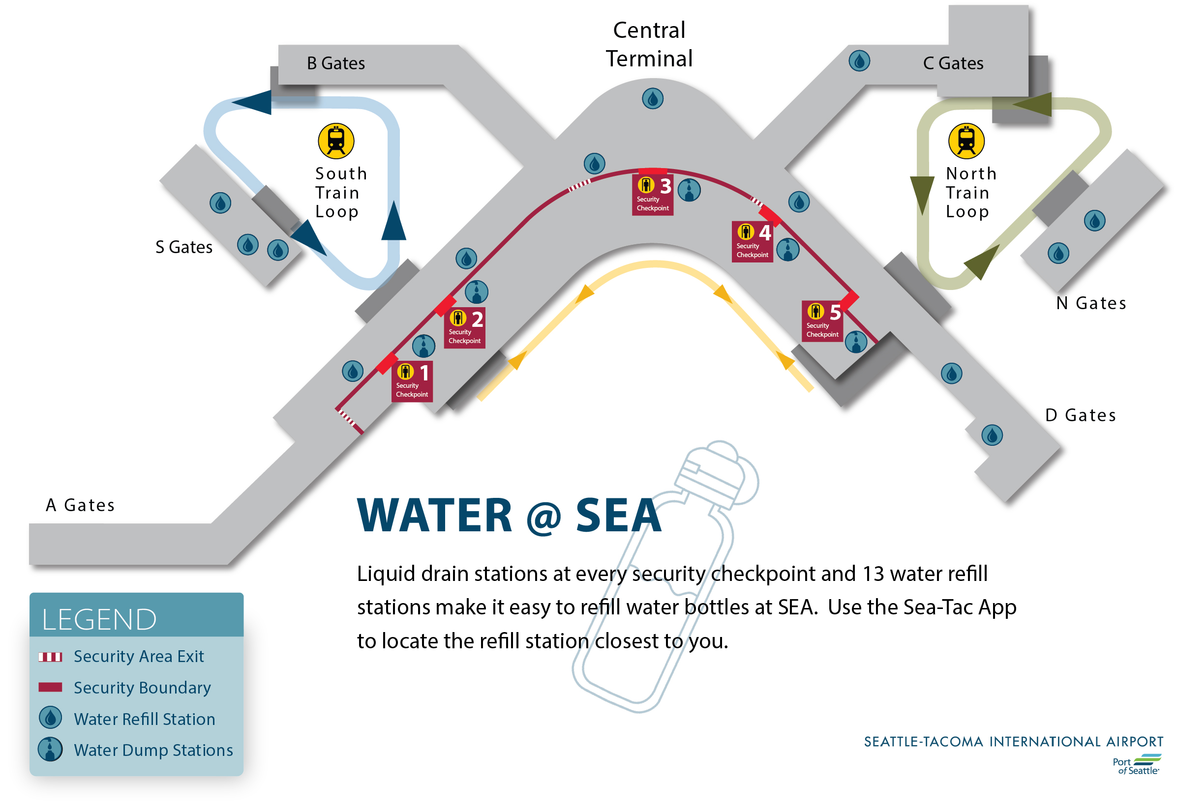 seatac airport arrivals map Water Bottle Refill Stations Port Of Seattle seatac airport arrivals map