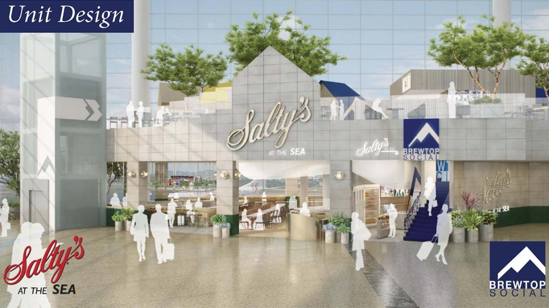 Rendering of Salty's at SEA and BrewTop Socical at Northend of Central Terminal