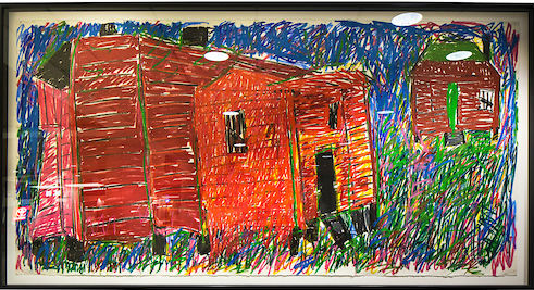 Painting showing a red house