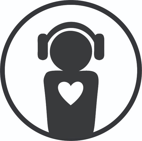 Symbol with a person wearing headphones and a heart