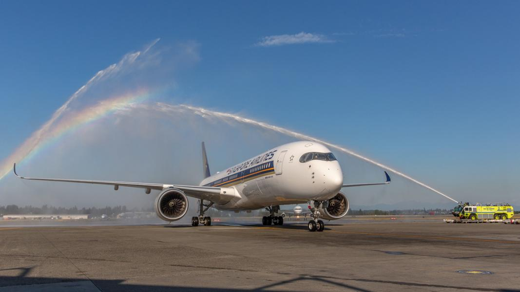 The inaugural flight of Singapore Airlines is welcomed with a water turret salut at SEA Sept. 3, 2019