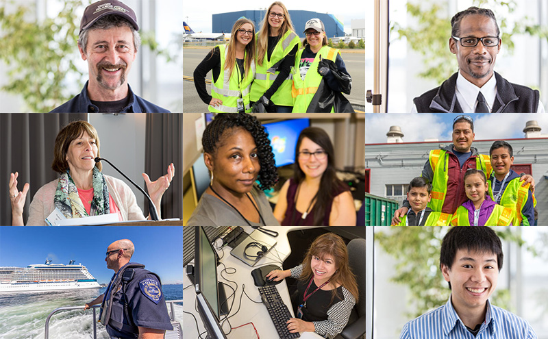 Several images of Port employees in their respective roles