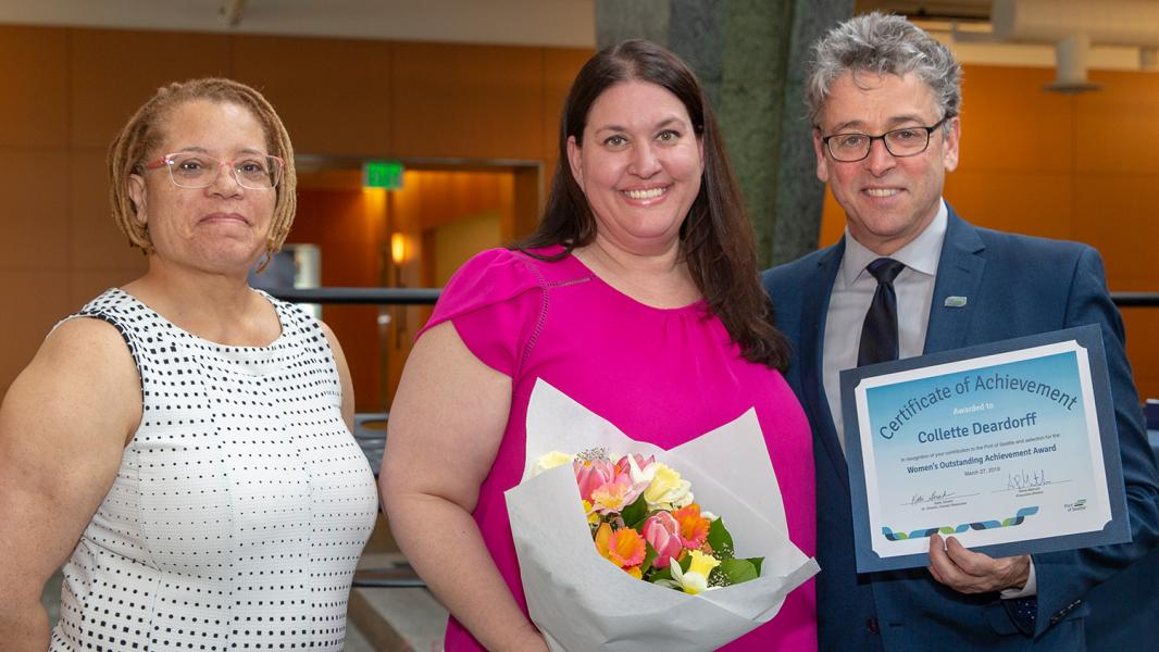 Commissioner Felleman with Women's Outstanding Achievement recipient Colette Deardorff and Program Manager Traci Patterson, Port of Seattle, May 2019