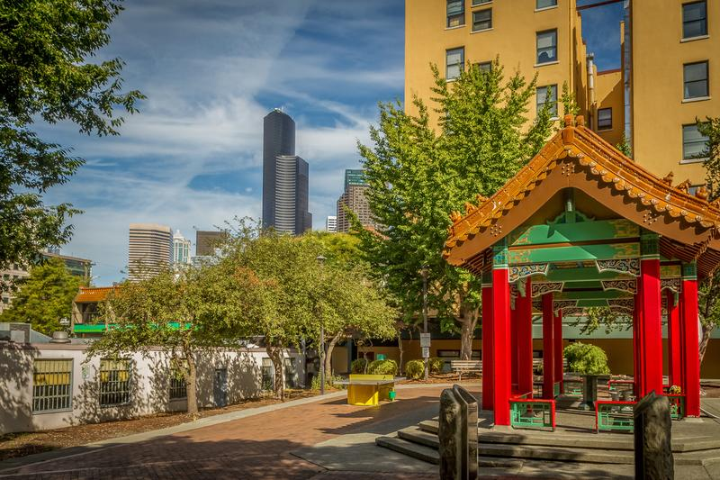 Photo of red Chinese gate in Seattle's International District