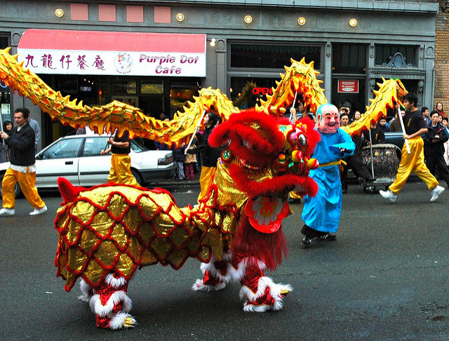 Dragon dancers in Seattle's ID