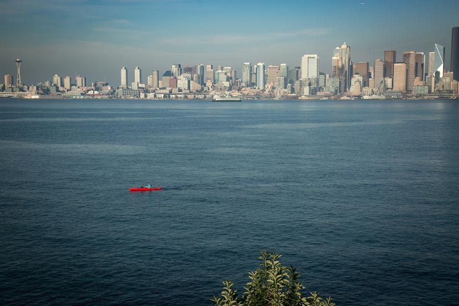 Seattle skyline with kayaker in the front