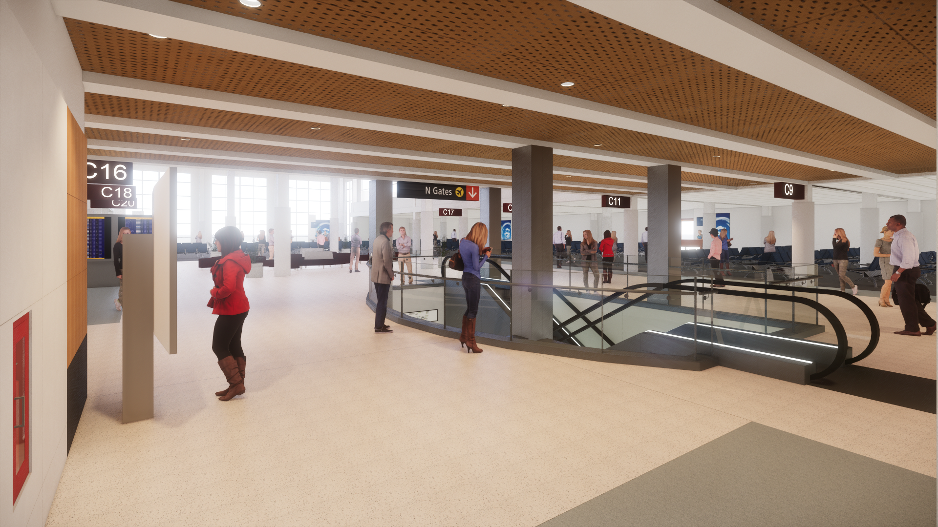 Rendering of project at Concourse C level from the Southwest corner.