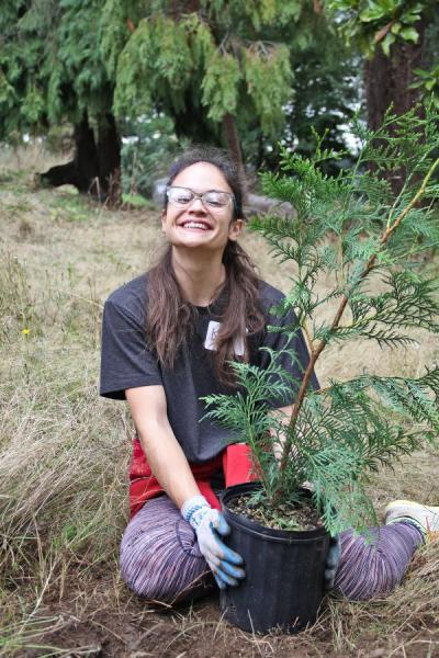 Community volunteer plants a tree