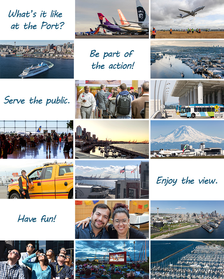 A collection of images that highlight what it's like to work at the Port, including exciting work in public service, great views of Mt. Rainier and Puget Sound, and fun events.