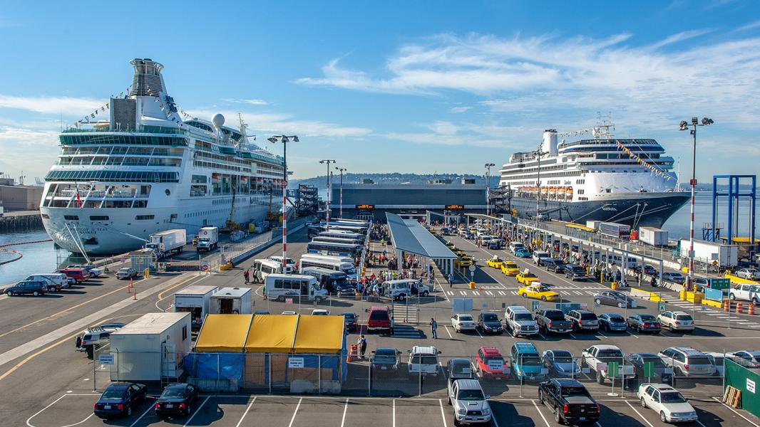 Two cruise ship docked at terminal 91