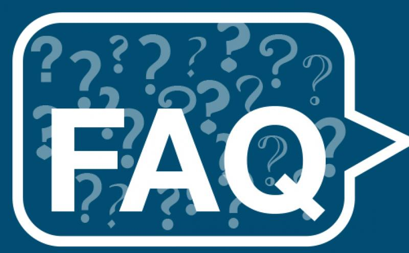 """FAQ"" surrounded by question marks in a speech bubble"