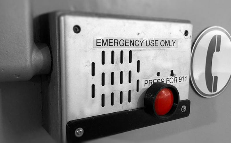 Selective color image of an airport emergency intercom
