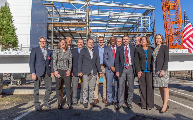 Commissioners and Executives from the Port of Seattle and Airline and other industry partner Executives and Officials attend the Topping Off Ceremony of the International Arrivals Facility at Sea-Tac Airport