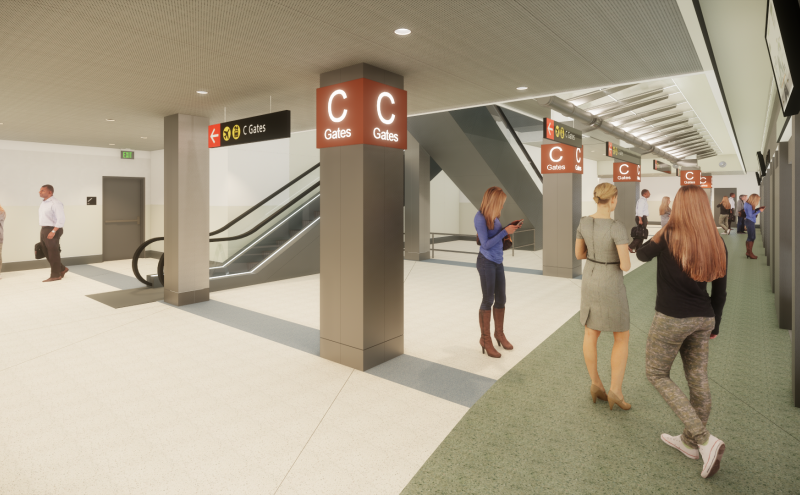 Rendering of project view at concourse C STS level.