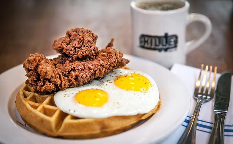 Chicken and waffles are one of the most popular menu items at Skillet.