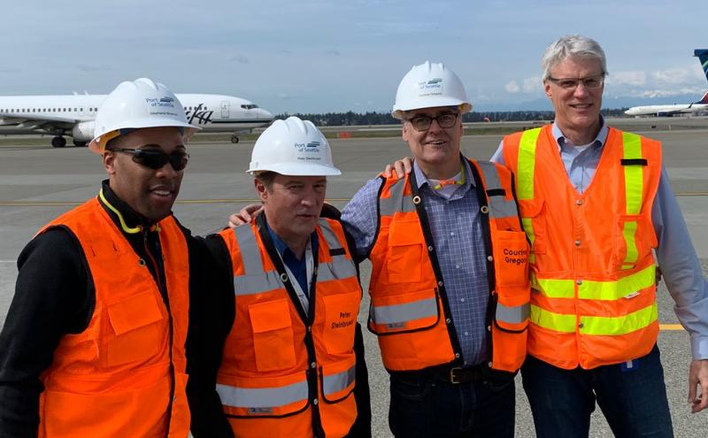 Commissioner Steinbrueck takes a tour of CIP at Sea-Tac Airport, April, 2019. Pictures L to R: Preston Tucker, Commissioner Steinbrueck, Peter Miller, and Dave Soike